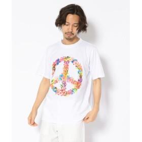 (LHP/エルエイチピー)MADDICT/マディクト/ルーズシルエット フラワーピースプリントTシャツ/メンズ WHITE