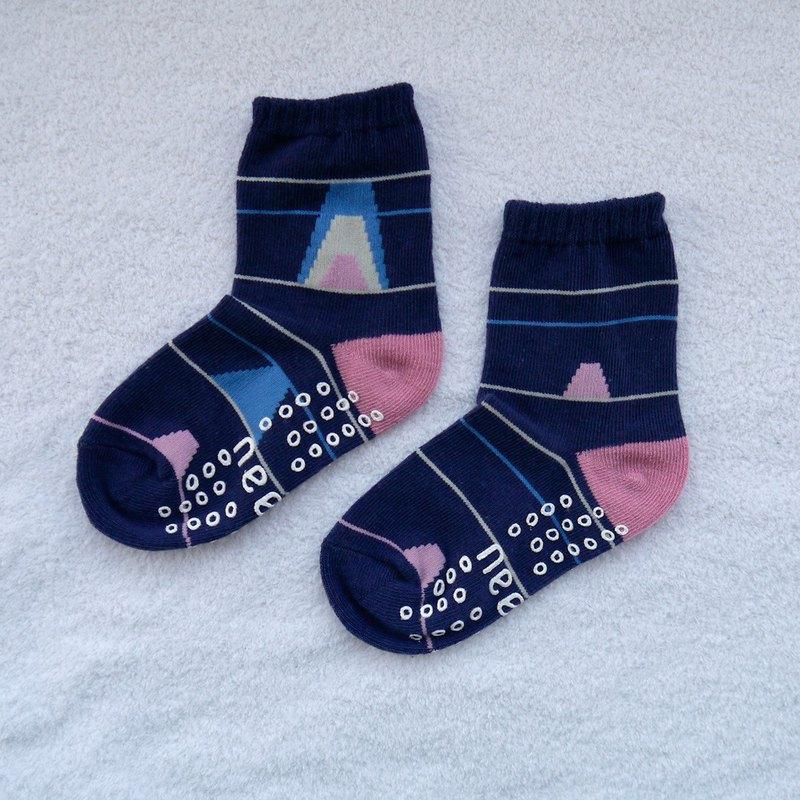 KIDS 油圖 3:4 /藍/ 童襪