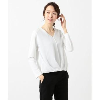 ICB/アイシービー Fabric Combi Jersey ドレープカットソー ホワイト系 S