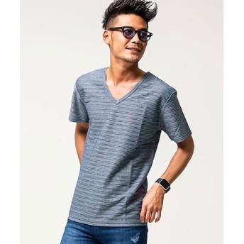 (VICCI/ビッチ)VICCI【ビッチ】タックジャガードVネック半袖Tシャツ/メンズ ネイビー