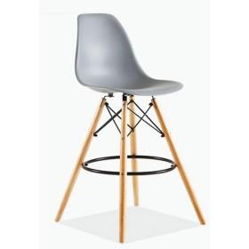 イームズハイスツール、プラスチックバーチェア、クリエイティブ・バースツール、レジファッションバーのテーブルと椅子、北欧バーチェア(4パック) (Color : Gray)