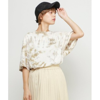 (DOUBLE NAME/ダブルネーム)タイダイ染BIG刺繍Tシャツ/レディース ベージュ