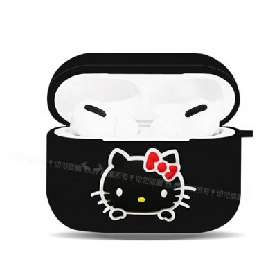 三麗鷗授權 Hello Kitty 蘋果AirPods Pro 藍牙耳機盒保護套(凱蒂黑)
