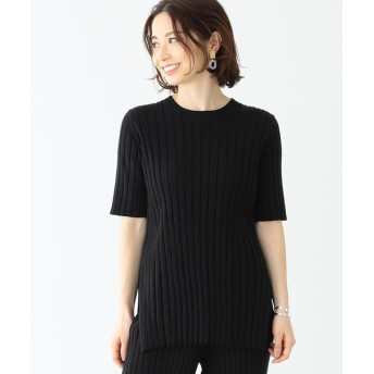 (BEAMS OUTLET/ビームス アウトレット)Demi-Luxe BEAMS / ワイドリブ 5分袖ニット/レディース BLACK