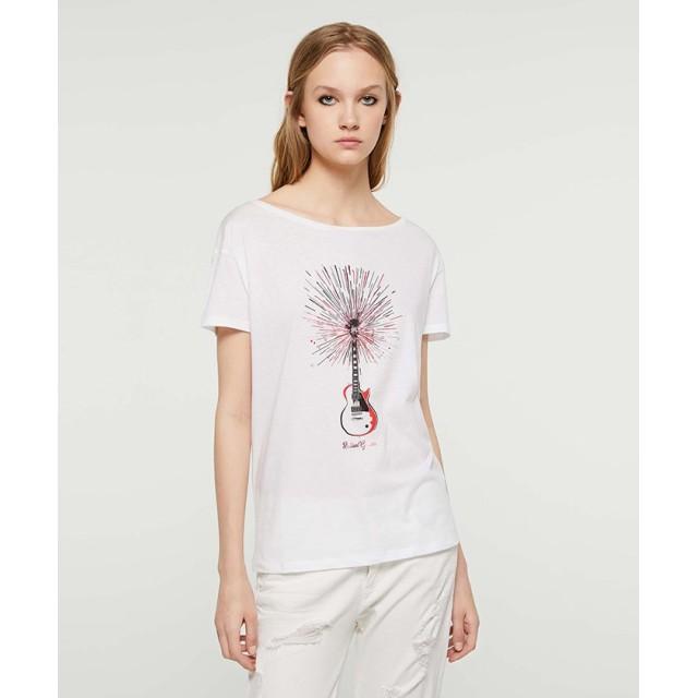 (SISLEY/シスレー レディス)ラミネートプリント半袖Tシャツ/レディース ホワイト