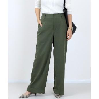 (FUNNY COMPANY+/ファニーカンパニー)ピケツイル裾折り返しワイドパンツ/レディース ダークグリーン