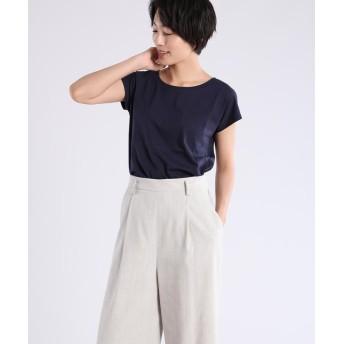 (INED/イネド)フレンチスリーブTシャツ《スビン綿ソロ天竺》/レディース ネイビー