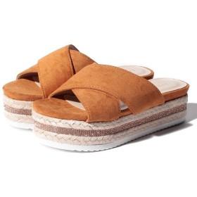 (Shoes in Closet/シュークロ)ジュート&ビジューソール エスパドリーユクロスベルトサンダル/レディース キャメル