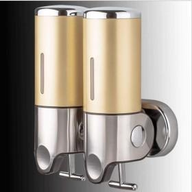 ソープディスペンサー 浴室の壁の台紙の石鹸ディスペンサーのステンレス鋼の手ポンプ二重シャンプーの石鹸ディスペンサーの石鹸の容器 バスルームソープディスペンサー (Color : Local gold, サイズ : Double)