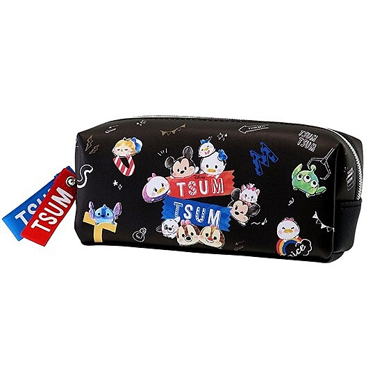 〔小禮堂〕迪士尼 TsumTsum 方形皮質雙層拉鍊筆袋《黑.Q版大臉》收納包.化妝包.鉛筆盒 4935124-52257