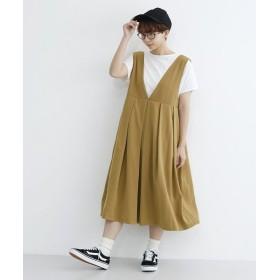 (merlot/メルロー)Vネックタックジャンパースカート/レディース キャメル