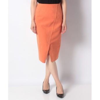 (Perle Peche OUTLET/ペルルペッシュ アウトレット)フェイクスエード前スリットタイトスカート/レディース オレンジ