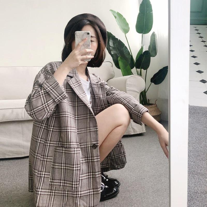 經典單釦格紋西裝外套