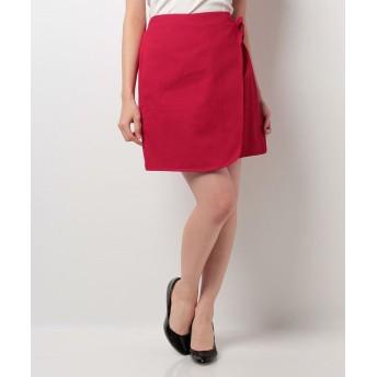 (NICE CLAUP OUTLET/ナイスクラップ アウトレット)【natural couture】ラップ風台形スカート/レディース レッド