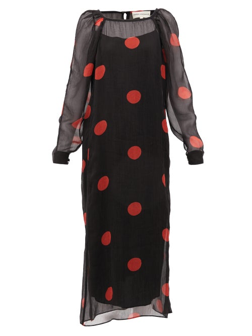 Mara Hoffman - Elisabetta Polka-dot Crepon Midi Dress - Womens - Black Print