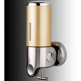 ソープディスペンサー 浴室の壁の台紙の石鹸ディスペンサーのステンレス鋼の手ポンプ二重シャンプーの石鹸ディスペンサーの石鹸の容器 バスルームソープディスペンサー (Color : Local gold, サイズ : Single)