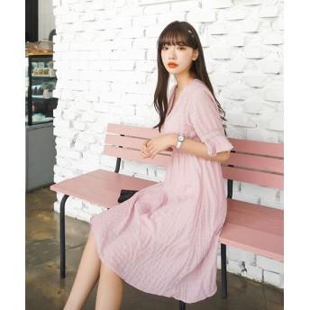 (sonyunara/ソニョナラ)SONYUNARA(ソニョナラ)五分袖フレアワンピース/レディース ピンク