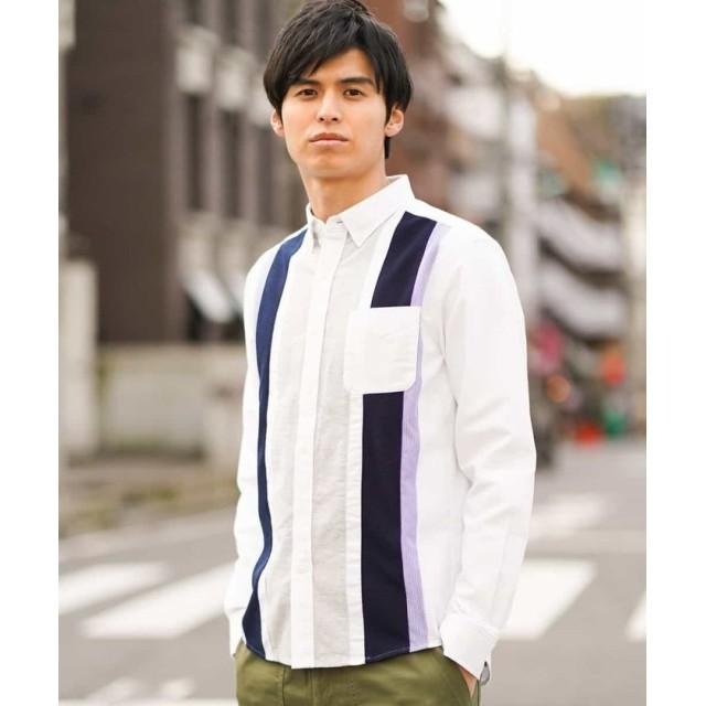 (a.v.v (MEN)/アーヴェヴェメンズ)タテキリカエオックスシャツ[WEB限定サイズ]/メンズ ホワイト