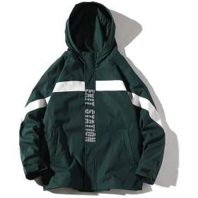 Angelo ジャケット アウター メンズ フード付き ショート丈 防寒 コート メンズジャケット ゆったり カッコイイ 男 春物 ダウンコート 無地 長袖 春 欧米風 防寒着 おしゃれ 大きいサイズ カジュアル M-5XL(グリーン,3XL)