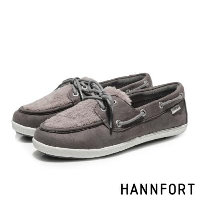 HANNFORT CALIFORNIA暖心毛毛帆船鞋-女-大象灰(8H)
