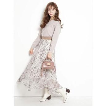 (Rirandture/リランドチュール)スカーフ刺繍スカート/レディース モカピンク