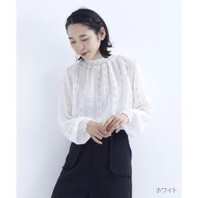 (merlot plus/メルロープリュス)フラワードット刺繍シフォンギャザーブラウス/レディース ホワイト