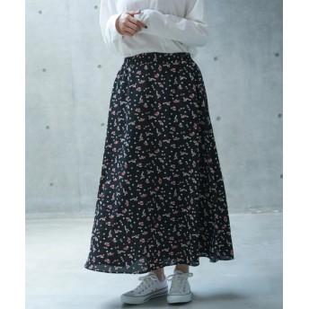 (koe/コエ)花柄マキシスカート/レディース ブラック