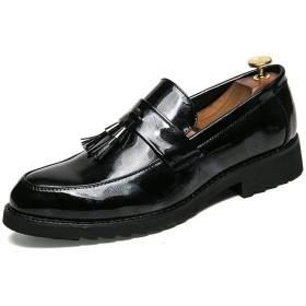 [GERUIQI] カジュアル英国ファッションタッセルカバーフットパテントレザーポインテッドフォーマルシューズメンズビジネスオックスフォード 快適な男性のために設計 (Color : Black, Size : 38 EU)