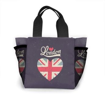 ラブロンドンハートフラッグ トートバッグ 買い物バッグ レディース おしゃれ バッグ ハンドバッグ エコバッグ 人気 ランチバッグ