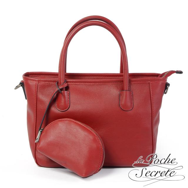 La Poche Secrete手提包 簡約真皮2WAY側斜背包-魅力紅