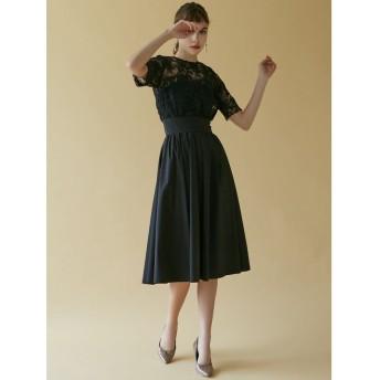 (LAGUNAMOON/ラグナムーン)LADYオーバーレースギャザードレス/レディース ブラック