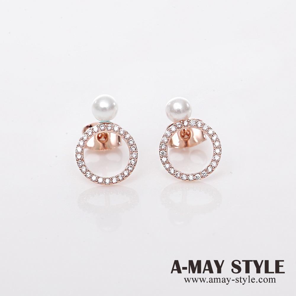 現貨925銀-正韓-珍珠小鑽圈圈耳環【XOK1204128】*艾美時尚