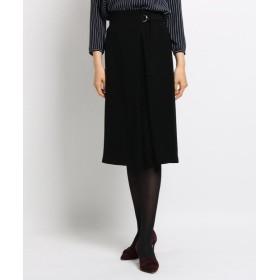 (INDIVI/インディヴィ)[L]【マシンウォッシュ】サテンクロスラップ風スカート/レディース ブラック(019)