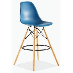イームズハイスツール、プラスチックバーチェア、クリエイティブ・バースツール、レジファッションバーのテーブルと椅子、北欧バーチェア(4パック) (Color : Sea blue)