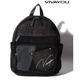 (VIVA YOU(BAG&WALLET)/ビバユーバッグアンドウォレット)【VIVAYOU ビバユー】デニムコンビロゴ刺繍リュック/レディース ブラック