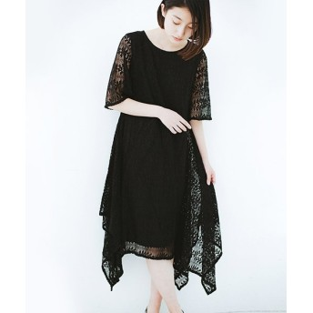 (haco!/ハコ)結婚式にも便利!スカートのドレープがきれいなレースワンピース/レディース ブラック