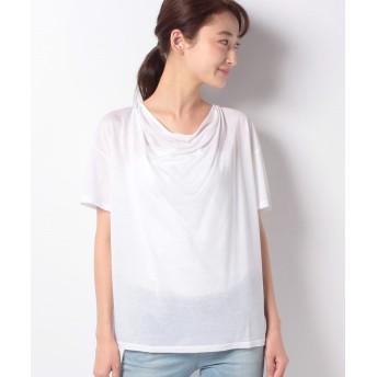 (allureville/アルアバイル)ドレープTシャツ/レディース ホワイトパール