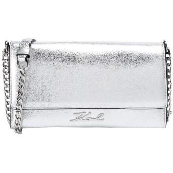 《セール開催中》KARL LAGERFELD レディース メッセンジャーバッグ シルバー 牛革 100% K/Signature Met Wallet Chain