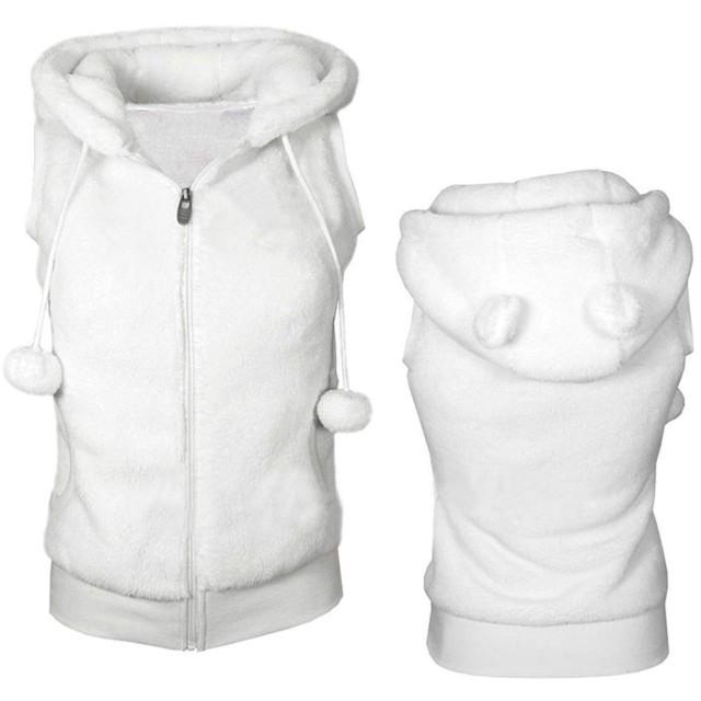 女性の冬暖かいベストコート柔らかいフリースフード付き生き抜く女性のファッションカジュアル、ホワイト、XL