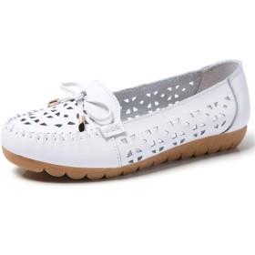 女性のハイヒールの靴2.5センチメートル/ 0.98「」ヒールラウンドクローズドつま先ウェッジソリッドカラー合成皮革アウト中空ボウノット&metalDecorationラグソールファッション人格の靴のためのLofars レジャーShoes (Color : Gray, Size : 38 EU)