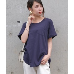 (ANDJ/アンドジェイ)ポケット付きラウンドカット半袖Tシャツ/レディース ネイビー
