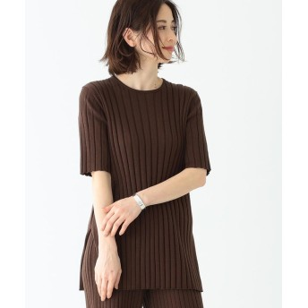 (BEAMS OUTLET/ビームス アウトレット)Demi-Luxe BEAMS / ワイドリブ 5分袖ニット/レディース BROWN