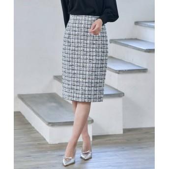 (ANAYI/アナイ)【セットアップ対応商品】リボンヤーンツイードタイトスカート/レディース グレー