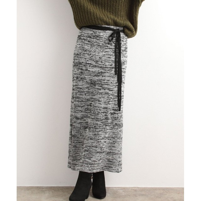 (ViS/ビス)【WEB限定】ウエスト紐メランジニットスカート/レディース ブラック(01)