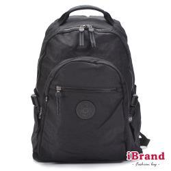 iBrand後背包 簡約素色超輕盈尼龍口袋後背包-都會黑 TGT-983-BK