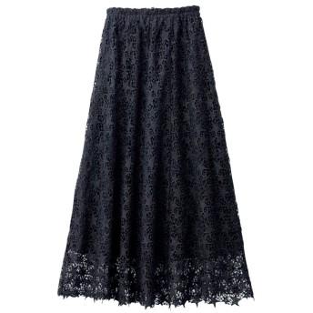 (Ranan/ラナン)星レースフレアーロングスカート/レディース ブラック