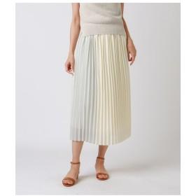 (NEWYORKER/ニューヨーカー)ジョーゼット 配色切替セットロングプリーツスカート/レディース ホワイト