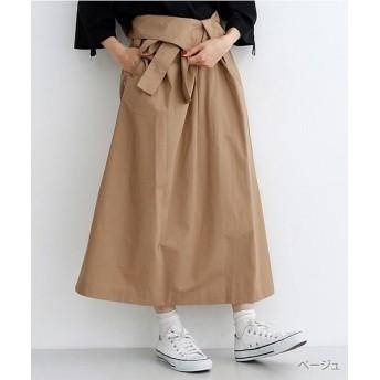 (merlot/メルロー)ウエスト折り返しラップ風スカート/レディース ベージュ