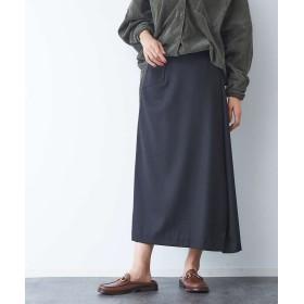 (Rouge vif la cle/ルージュヴィフラクレ)サキソニーポケット付スカート/レディース ブラック