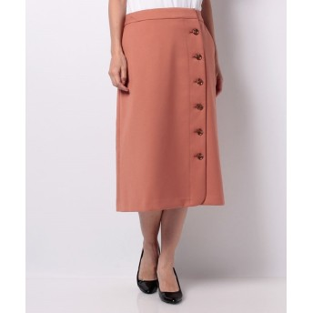 (LA MARINE FRANCAISE/マリンフランセーズ)T/Rダブルクロス 釦あき台形スカート/レディース ピンク